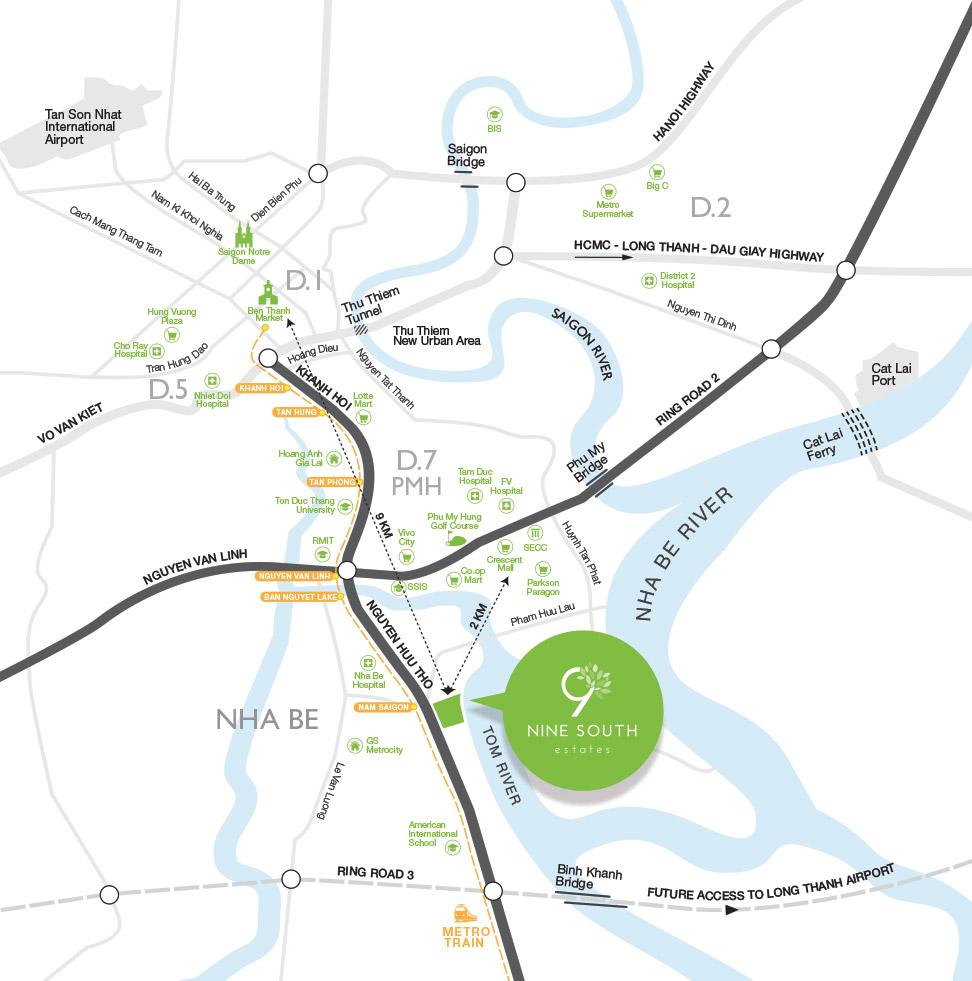 vị trí dự án nine south estates