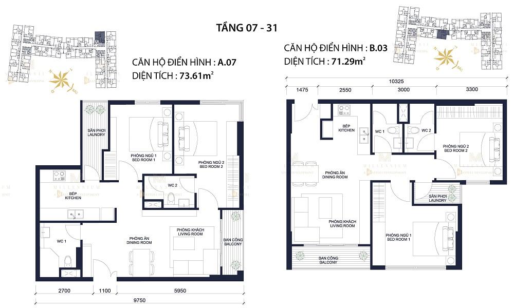 Căn hộ điển hình 2 phòng ngủ millennium