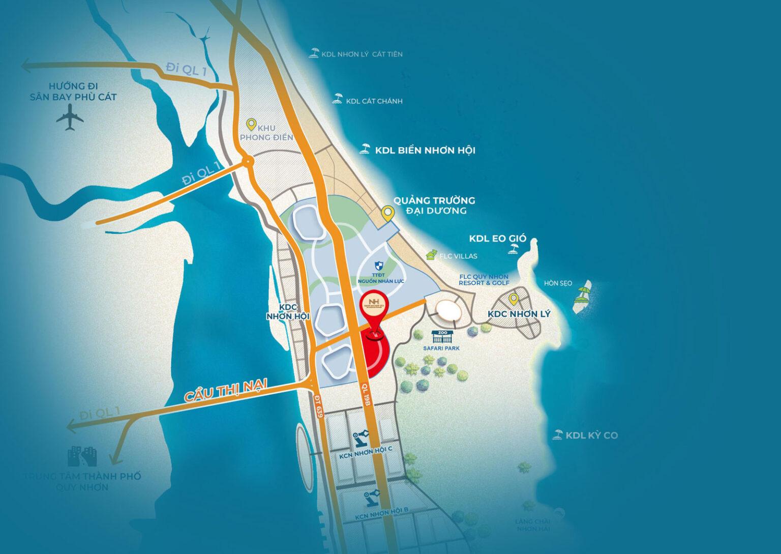 Vị trí dự án đất nền Nhơn Hội New city